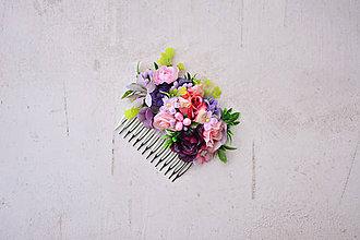 Ozdoby do vlasov - Rúžový kvetinový hrebienok - 9053012_