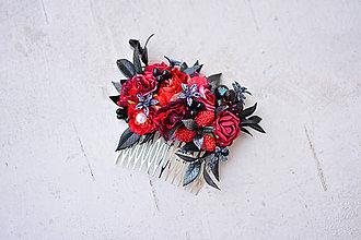Ozdoby do vlasov - Červený kvetinový hrebienok - 9053286_