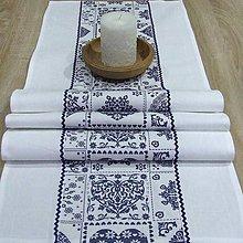 Úžitkový textil - Modro biely srdiečkový - stredový obrus - 9053059_