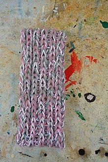 Čiapky - Pletená čelenka s copy -růžový melír - 9052921_
