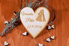 Darčeky pre svadobčanov - Svadobná magnetka drevená gravírovaná 132 - 9051375_