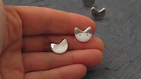 Náušnice - White cat, silver cat. - 9051878_