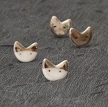 Náušnice - White cat, silver cat. - 9051871_