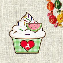 Dekorácie - Grafika na potlač jedlého papiera - ovocné koláčiky s farebnou ryžou (kárované košíčky) - 9054223_