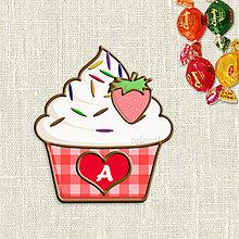 Dekorácie - Grafika na potlač jedlého papiera - ovocné koláčiky s farebnou ryžou (kárované košíčky) (Jahodový) - 9054225_