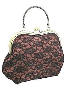 Kabelky - Spoločenská kabelka dámská čipková růžová 10551 (Čierno-biela) - 9057180_