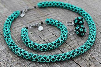 Sady šperkov - súprava tyrkysovo-čierna - 9056118_