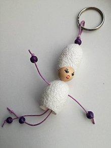 Kľúčenky - Kráska s barokovou parochňou fialová - 9054748_