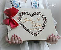 Papiernictvo - Svadobná kniha hostí, fotoalbum - srdiečko - 9056912_