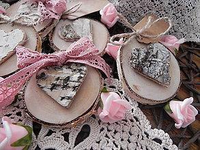 Darčeky pre svadobčanov - Svadobná magnetka - srdiečko z brezy pre teba mám:-) - 9055732_