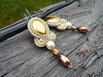 Náušnice - Soutache náušnice Pearl Honey - 9056936_