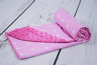 Textil - Minky cyclamen deka s ružovými hviezdičkami 70*70cm - 9057153_