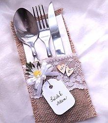 Darčeky pre svadobčanov - menovka 2v1 - obal na příbor 3 - 9057256_