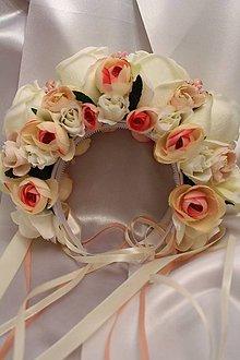Ozdoby do vlasov - Svadobná parta krémovo-ružová - 9057222_