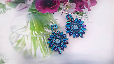 Náušnice - modré plesové - 9058371_