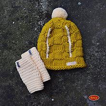 Čiapky - zimní sada - pletený kulich s bambulí + nátepníky - 9058276_