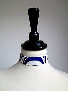 Náhrdelníky - choker Modrý ornament - 9057303_