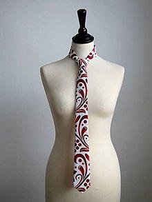 Doplnky - kravata Červený ornament - 9057361_