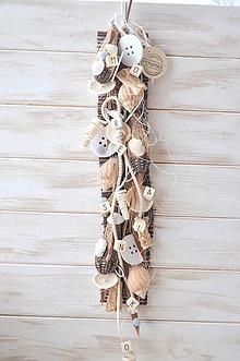 Dekorácie - Podlhovastá závesná dekorácia s mušľami - 9057558_