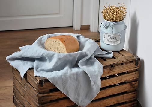 Úžitkový textil - ľanové plátno na chlieb (sivomodré) - 9055589_