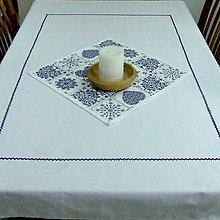Úžitkový textil - Modro biely (k srdiečkovým)- veľký obrus 140x110 - 9057998_