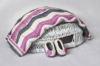 Úžitkový textil - baby deka s papučkami - 9057815_