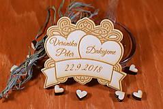 Darčeky pre svadobčanov - Svadobná magnetka drevená gravírovaná 135 - 9055015_