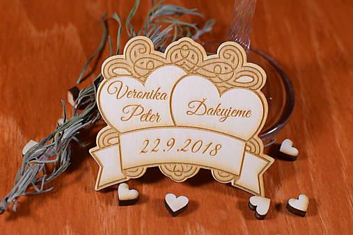 Svadobná magnetka drevená gravírovaná 135