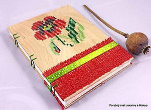 Papiernictvo - zápisník vyšívaný Vlčie maky - 9057264_
