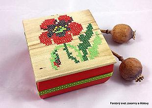 Krabičky - vyšívaná šperkovnica Vlčie maky - 9057582_