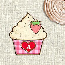 Nezaradené - Grafika na potlač jedlého papiera - ovocné koláčiky stracciatella (kárované košíčky) jahodová - 9055952_