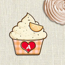 Grafika - Grafika na potlač jedlého papiera - ovocné koláčiky stracciatella (kárované košíčky) (pomarančová) - 9056052_