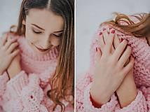 Svetre - Oversized sveter so stojačikom s bublinovými rukávmi, akryl - 9061449_