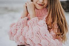 Svetre - Oversized sveter so stojačikom s bublinovými rukávmi, akryl - 9061450_