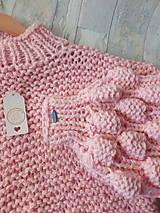 Svetre - Oversized sveter so stojačikom s bublinovými rukávmi, akryl - 9061476_