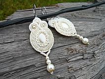 - Soutache náušnice Svatební Pearl Ivory - 9060497_