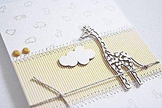 Papiernictvo - Pozdrav pre bábätko - žirafa na žltej - 9063335_