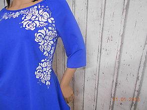 Šaty - BLUE & BEIGE FOLK - šaty maľované - 9061889_