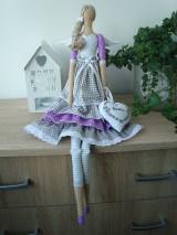 Bábiky - Šedo-fialková anjelka na želanie - 9061781_