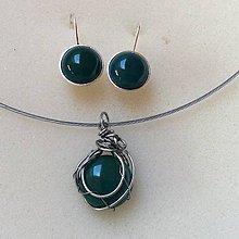 Sady šperkov - sada šperkov s brazílskym zeleným achátom - 9060745_
