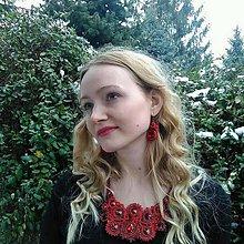 Sady šperkov - Červeno-čierny soutache set - 9062091_