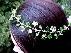 Ozdoby do vlasov - zeleno-zlatý korálkový venček - 9061874_
