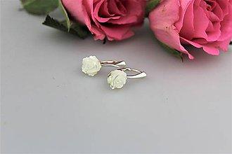 Náušnice - Zimné kvety - náušnice perleť v striebre Ag925/1000 - 9061763_