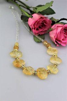 Náhrdelníky - Citrín s krištálom, striebrom...náhrdelník - 9062945_
