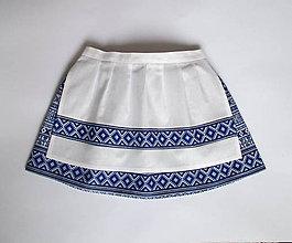 Detské oblečenie - folklórna sukňa so zásterkou (modrá dĺžka 30 cm) - 9061377_