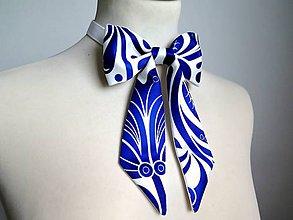 Iné doplnky - dámsky motýlik Modrý ornament - 9061563_