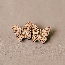 Náušnice - motýle natur - napichovačky - 9063782_