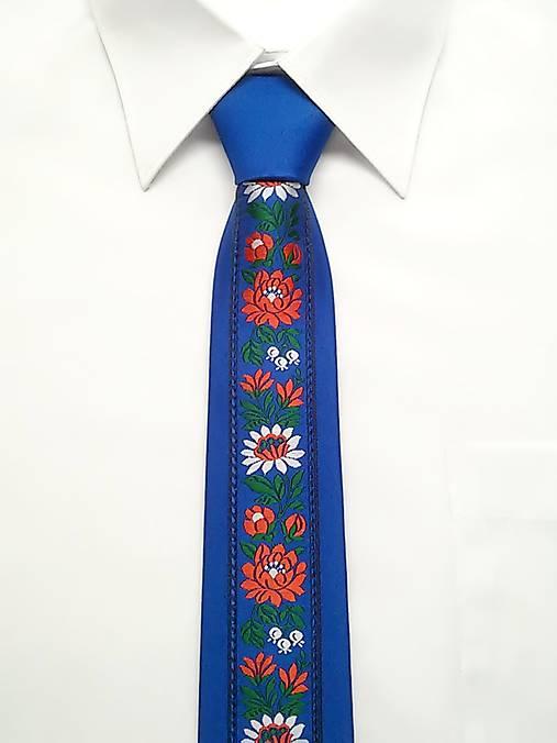 075b70872 Folk kravata modrá / nikalux.orava - SAShE.sk - Handmade Doplnky