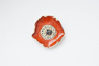 Odznaky/Brošne - Keramická brošňa Divý mak - 9060073_