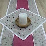 Úžitkový textil - Režné variácie ružové - obrus štvorec 42x42 - 9061840_
